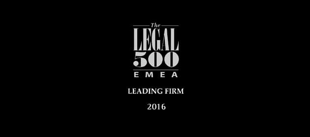 legal500 EMEA Top FIrm 2016